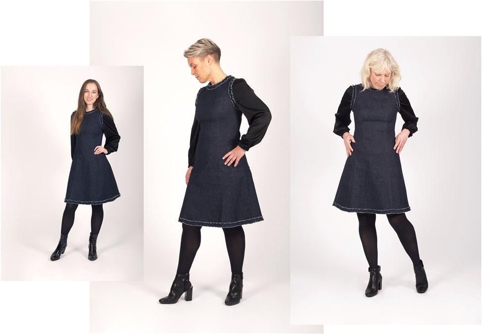 2f9d8a247938 Fra venstre har Silje på seg kjole og bluse i størrelse 36. Hun er 165 cm  høy. I midten har Ingvild på seg kjole i størrelse 40 og bluse i størrelse  38.