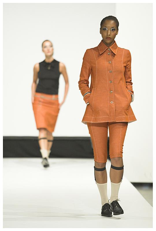 A-linjet denim jakke i oransje