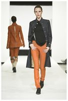 Slim trousers in orange and long denim coat