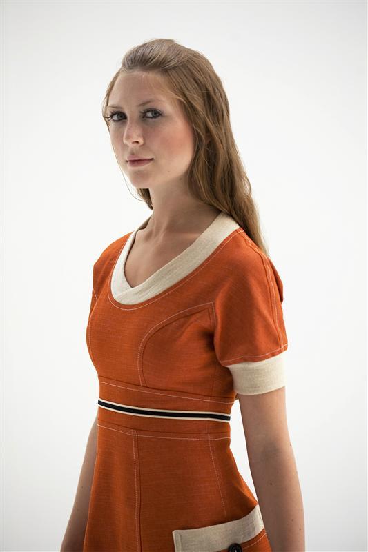 Oransje denim kjole