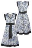 Birdy Kimono dress - blue bird front and back (dress)
