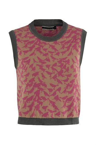 Bluebird print vest - pink mix (sweater)