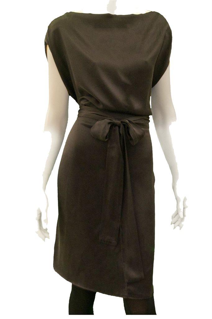 winter silk dress - black (kjole)
