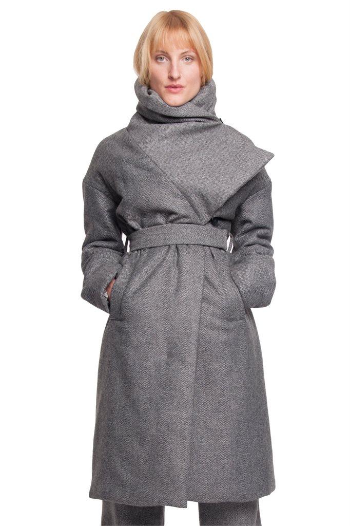 W106 Fish wrap coat - grey (yttertøy)