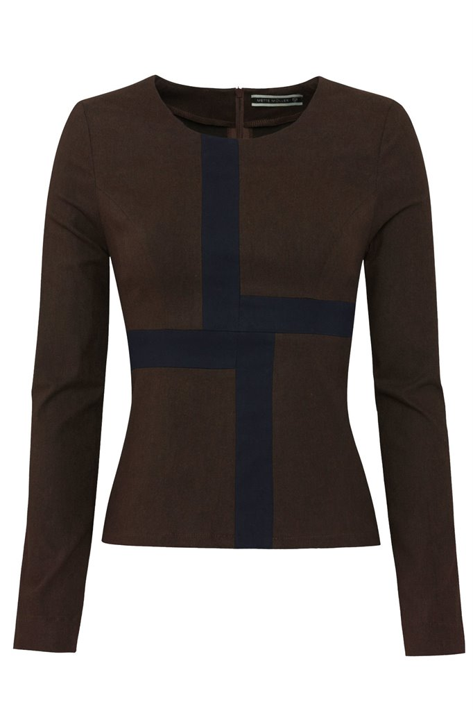 W87 Graphic top - brown/ navy (topp)