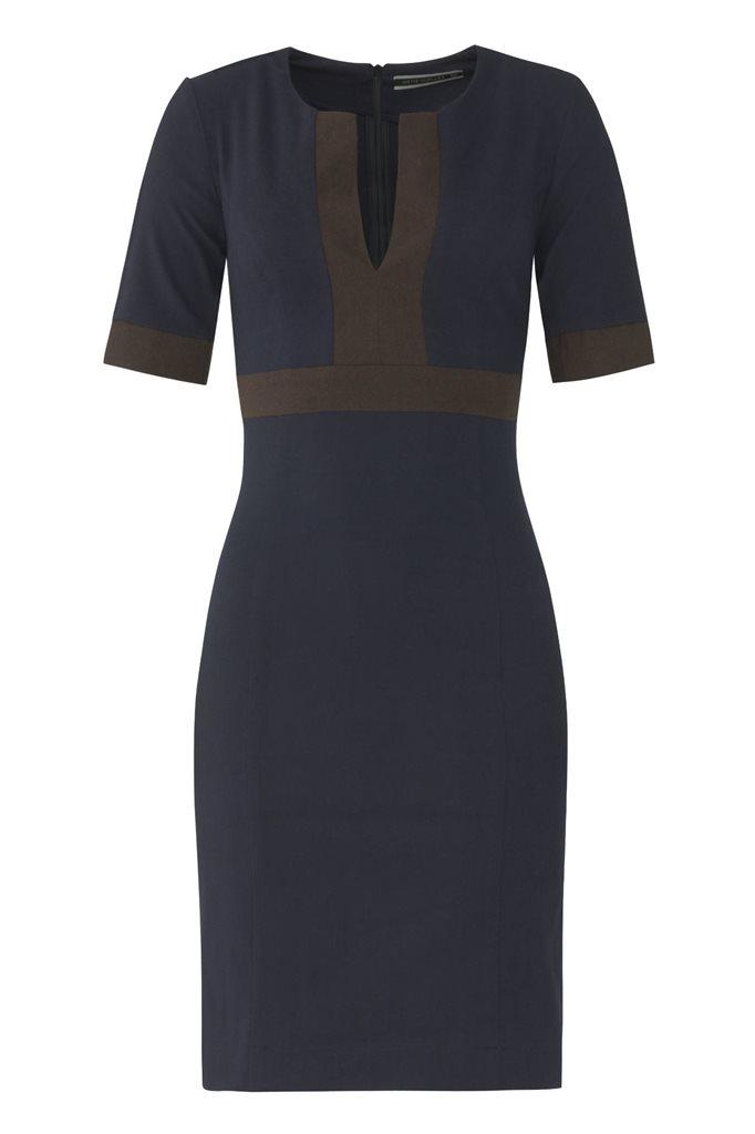 W85 Graphic slim dress - navy/ brown (kjole)