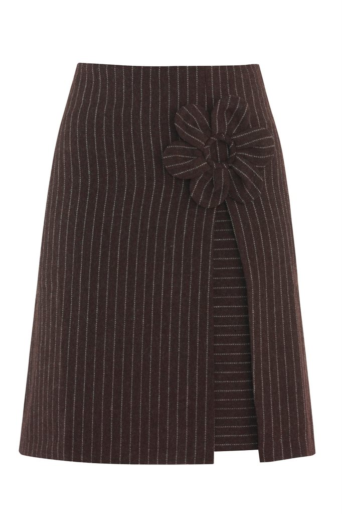 W88 Mochi skirt brown/grey strip - brown strip (skjørt)