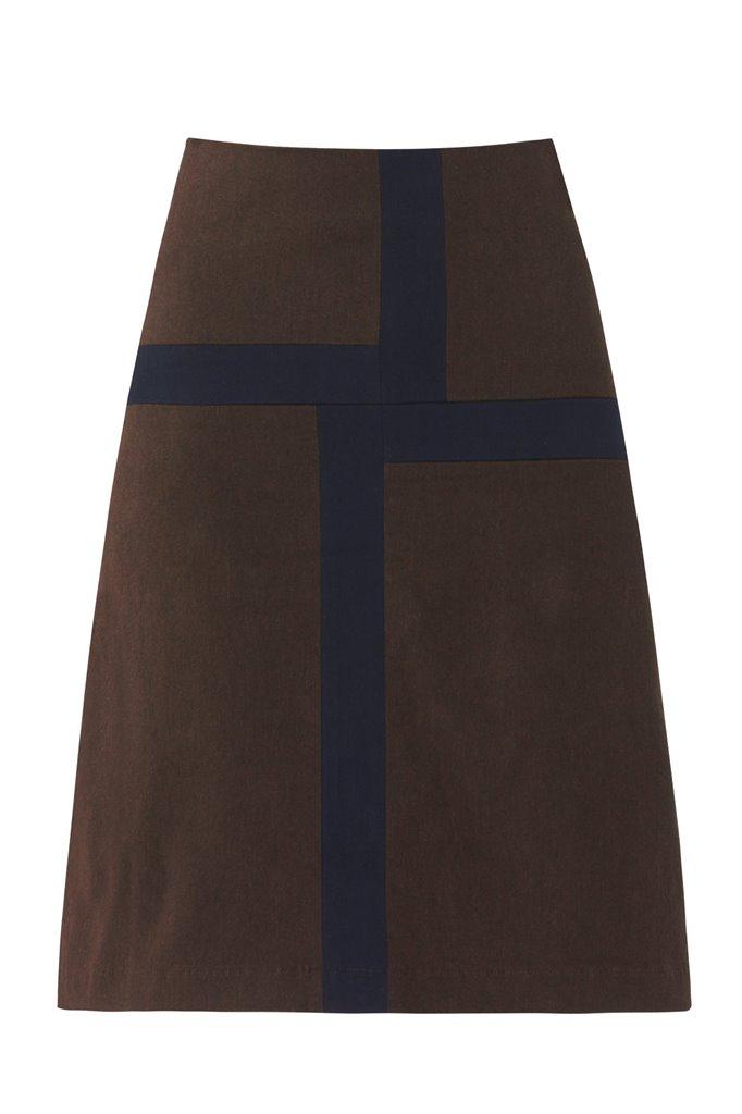 W86 Graphic skirt - brown/ navy (skjørt)