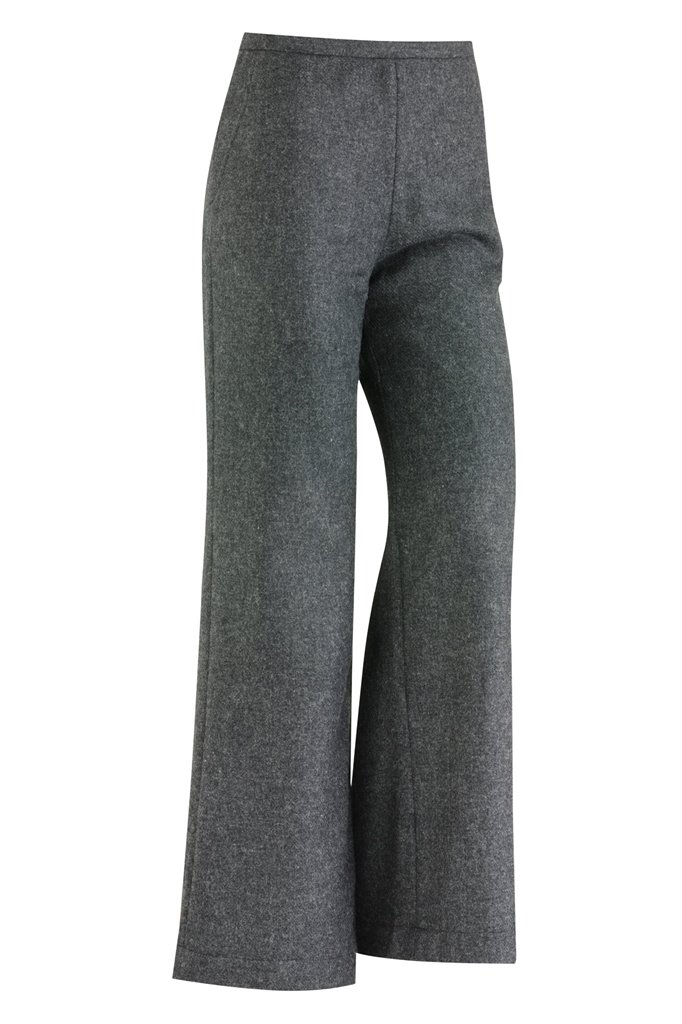 W122 Fish wide pants solid - charcoal (bukse)