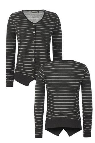Striped cardigan - gray stripes (jacket/cardigan)