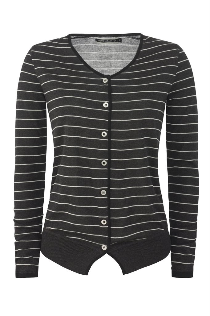 Striped cardigan - grey stripes (jakke)