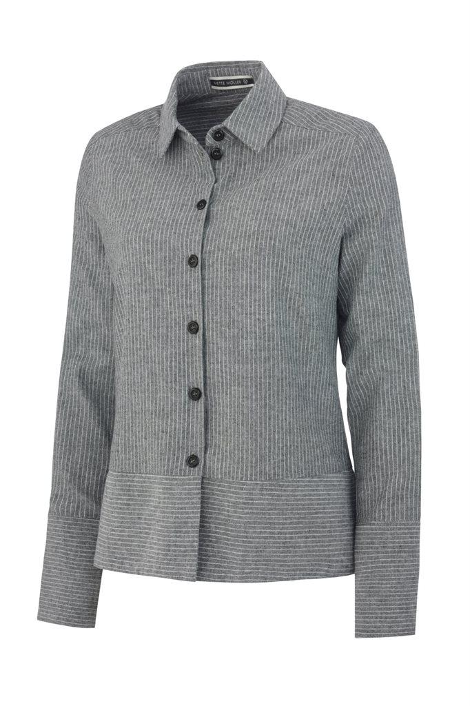 Small striped cotton shirt - black stripes (skjorte)