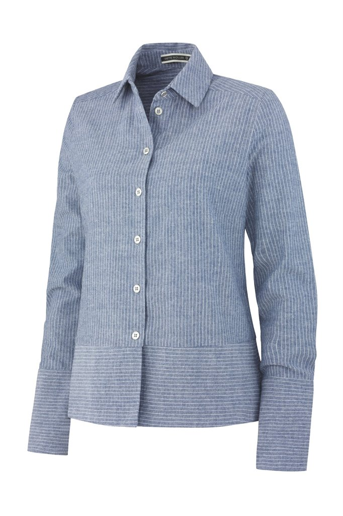 Small striped cotton shirt - blue stripes (skjorte)