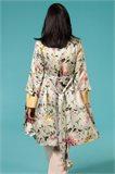 Oriental Kimono dress silk - blue flower (kjole)