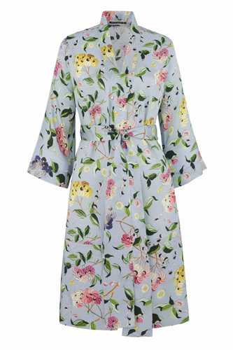 Oriental Kimono dress silk - blue flower (dress)