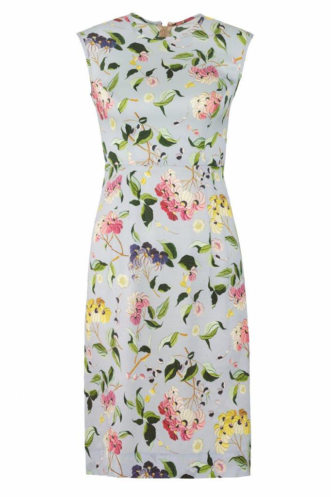 Oriental Sun dress silk - blue flower (kjole)