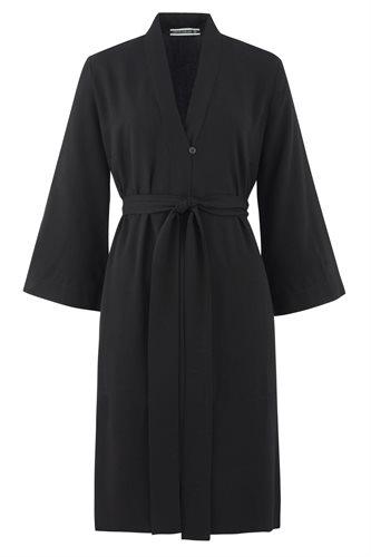 Oriental Kimono dress solid - black front (dress)