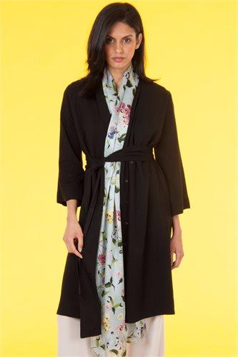 Oriental Kimono dress solid - black (dress)