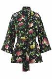 Oriental kimono silk - black flower (jakke)