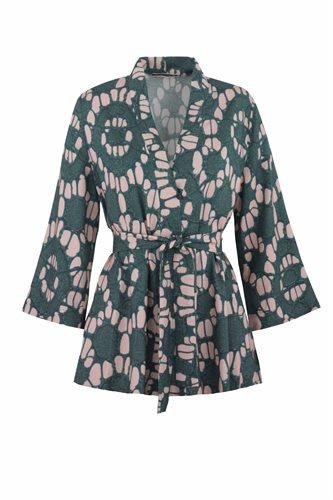 Oriental kimono print - beige print (jacket/cardigan)