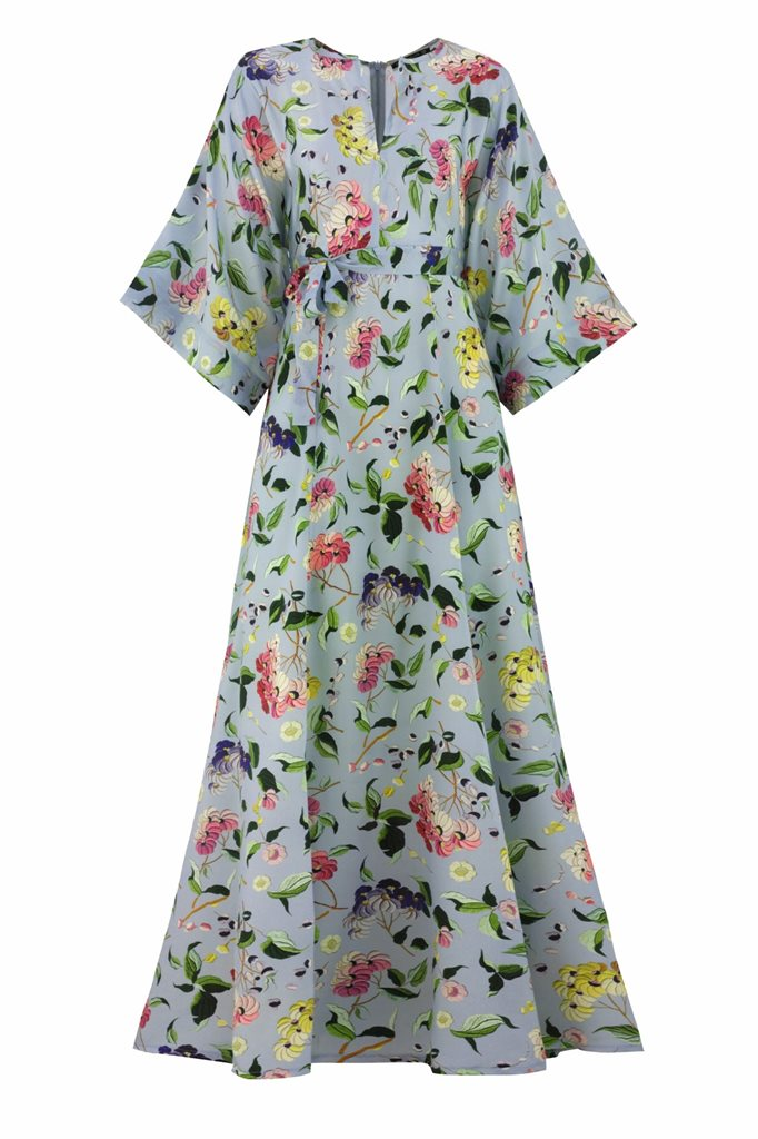 Oriental flower dress - blue flower (kjole)