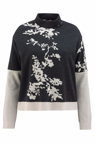 Asian bloom sweater - dark gray/ beige (sweater)