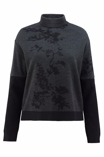 Asian bloom sweater - black / dark gray (sweater)
