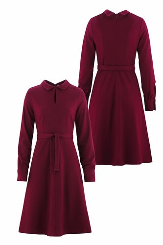 Musselin Day dress - burgunder - front and back (dress)