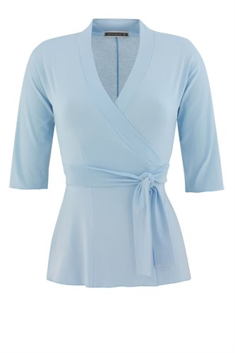 Classic Jersey wrap top - ice blue (top)