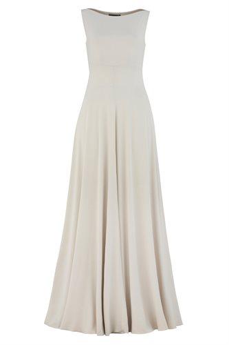 Classic long jersey dress - beige (dress)