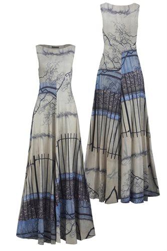 Print jersey long dress - manhattan wall (dress)